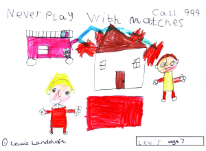 Lewis Landshoft's competition winning fire safety poster.